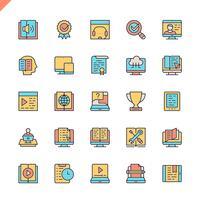 Flache Linie E-Learning, Online-Bildungselementikonen stellten für Website und bewegliche Site und apps ein. Umreißen Sie Ikonenentwurf. 48x48 Pixel Perfekt. Lineare Piktogrammpackung Vektor-illustration
