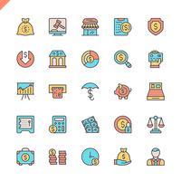 Flache Linie Geld, Finanzen, Zahlungselementikonen stellten für Website und bewegliche Site und apps ein. Umreißen Sie Ikonenentwurf. 48x48 Pixel Perfekt. Lineare Piktogrammpackung Vektor-illustration