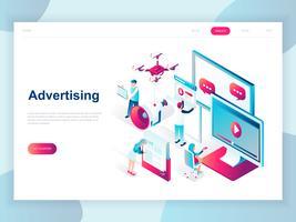 Modernes flaches Design isometrisches Konzept der Werbung und Promotion für Banner und Website. Isometrische Zielseitenvorlage. Social Media Kampagne, Marketingforschung. Vektor-illustration