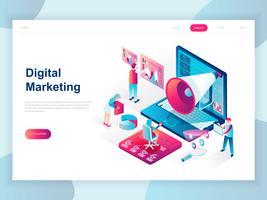 Modernt plandesign isometrisk koncept Digital Marketing för banner och hemsida. Isometrisk målsida för målsidor. Företagsanalys, innehållsstrategi och ledning. Vektor illustration.