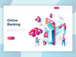 Isometrisches Konzept des modernen flachen Designs des Online-Bankings für Fahne und Website. Isometrische Zielseitenvorlage. Elektronische Banküberweisung oder Kundensupport. Vektor-illustration