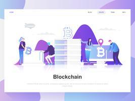 Blockchain modernes flaches Designkonzept. Zielseitenvorlage. Moderne flache Vektorillustrationskonzepte für Webseite, Website und bewegliche Website. Einfach zu bearbeiten und anzupassen.