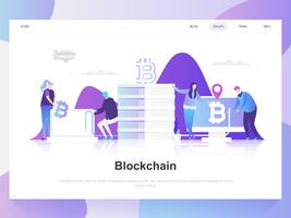 Blockchain modernt plandesignkoncept. Målsida mall. Moderna platt vektor illustration koncept för webbsida, webbplats och mobil webbplats. Lätt att redigera och anpassa.