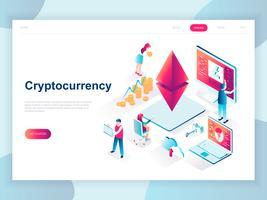 Modernt plandesign isometrisk koncept för Cryptocurrency Exchange för banner och hemsida. Isometrisk målsida för målsidor. Gård för att gruva digitala pengar och handelsvaluta. Vektor illustration.