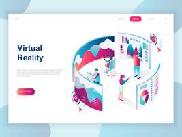 Modernes flaches Design isometrisches Konzept von Virtual Augmented Reality für Banner und Website. Isometrische Zielseitenvorlage. Leute, die Kopfhörer mit rührender vr Schnittstelle tragen. Vektor-illustration