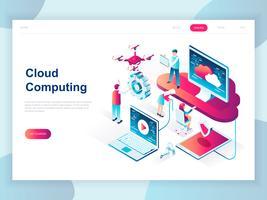 Isometrisches Konzept des modernen flachen Designs der Cloud-Technologie für Fahne und Website. Isometrische Zielseitenvorlage. Cloud Computing Service Online-Mediendatei-Datensicherungsspeicher. Vektor-illustration