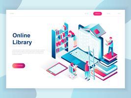 Isometrisches Konzept des modernen flachen Designs der Online-Bibliothek für Fahne und Website. Isometrische Zielseitenvorlage. Technologie und Literatur, digitale Kultur in der Mediathek. Vektor-illustration
