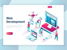 Modern plandesign isometrisk koncept för webbutveckling för banner och hemsida. Isometrisk målsida för målsidor. Utvecklare kodning programvara och programmering webbplats. Vektor illustration.