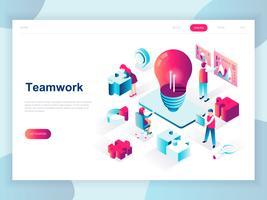 Modernt plandesign isometrisk koncept för Teamwork för banner och hemsida. Isometrisk målsida för målsidor. Företagsledning, online kommunikation och ekonomi. Vektor illustration.