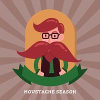 Gullig gentleman hipster tecknad karaktär emblem logotyp. Lång mustak