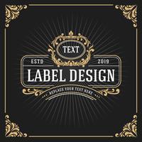 Weinlese-Luxusmonogramm-Fahnen-Schablonen-Design vektor