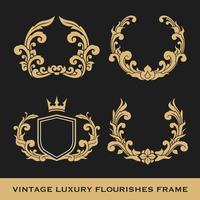 Set av Vintage Luxury Monogram Frame Template Design vektor