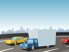 tecknade lastbil på motorvägen vektor