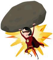 Komisches Supermädchen, das großen Felsen wirft