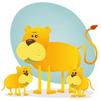 Weiblicher Löwe und seine Babys