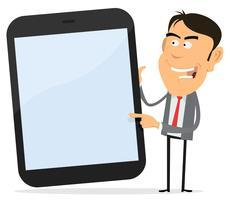 Geschäftsmann, der Tablet-PC zeigt vektor