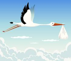 Stork levererar baby vektor