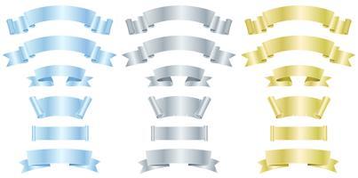 Silver, metall och guld banderoller eller band vektor