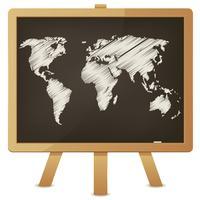 Weltkarte auf Klassenzimmer-Tafel