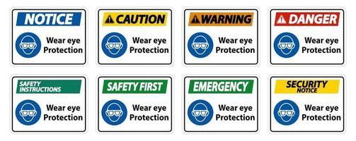 Augenschutz auf weißem Hintergrund tragen vektor