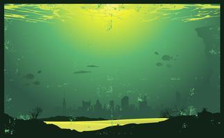 Grunge städtische Unterwasserstadtlandschaft