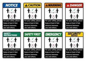Halten Sie zu Ihrer Sicherheit einen Abstand von 6 Fuß ein. Halten Sie zu Ihrer Sicherheit einen Abstand von mindestens 6 Fuß zwischen Ihnen und anderen Personen ein. vektor