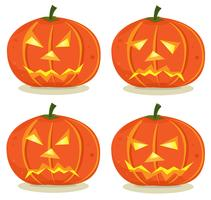Halloween pumpor uppsättning vektor