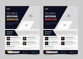 Wir verschieben Flyer-Vorlage. Hausverlagerungsdienste-Plakatvorlage. Hausverlagerungsagentur Flyer Poster Vorlage. Schnelle zuverlässige Movers Flyer Vorlage. Vertrauenswürdige Umzugsexperten-Service-Flyer-Vorlagendesign. vektor