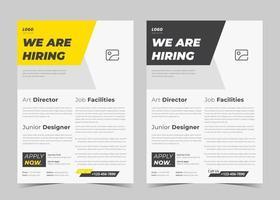 Wir stellen Flyerdesign ein. Wir stellen Plakatvorlage ein. Stellenangebot Flyer Vorlagendesign vektor
