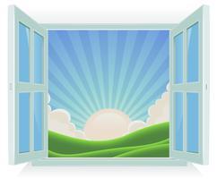 Sommerlandschaft außerhalb des Fensters vektor