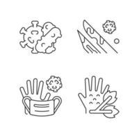 Lineare Symbole für infektiöse Bioabfälle gesetzt vektor