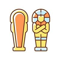 ägyptischer Sarkophag RGB-Farbsymbol vektor