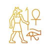 ägyptische Wandzeichnungen lineare Vektorsymbol mit Farbverlauf. Wandmalerei. Erleichterungen. Darstellung der alten Ägypter. dünne Linie Farbsymbole. Piktogramm im modernen Stil. Vektor isolierte Umrisszeichnung