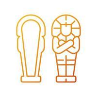 ägyptischer Sarkophag linearer Vektor mit Farbverlauf. ewige Wohnung für Verstorbene. Sarg mit Hieroglyphen beschriftet. dünne Linie Farbsymbole. Piktogramm im modernen Stil. Vektor isolierte Umrisszeichnung