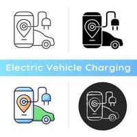 EV-Lade-App-Symbol. digitale Anwendung zum Auffinden von Ladestationen für Elektromobile. mit dem Gerät, um für natürlichen Brennstoff zu bezahlen. lineare Schwarz- und RGB-Farbstile. isolierte vektorillustrationen vektor