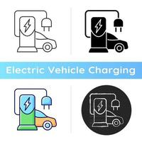 EV-Ladestation-Symbol. Platz zum Aufladen der Batterie des Elektromobils. Erhalten natürlicher Energie, um Auto zu fahren. natürlicher Brennstoff. lineare Schwarz- und RGB-Farbstile. isolierte vektorillustrationen vektor