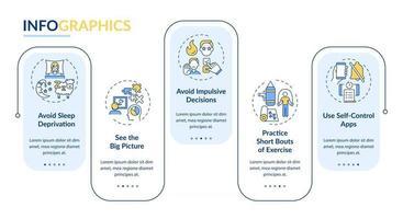 Infografik-Vorlage für die Selbstkontrolle zur Steigerung der Tipps. Designelemente für die Präsentation des persönlichen Wachstums. Datenvisualisierung mit 5 Schritten. Zeitachsendiagramm des Prozesses. Workflow-Layout mit linearen Symbolen vektor