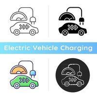 Ladesymbol der Stufe 3. schnelle Möglichkeit zum Auffüllen der Autobatterie. schnelle Stromquelle. ökologischer Kraftstoffverbrauch. lineare Schwarz- und RGB-Farbstile. isolierte vektorillustrationen vektor