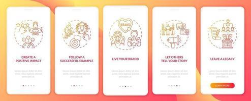 Persönliche Branding-Tipps Orange Onboarding Mobile App-Seitenbildschirm mit Konzepten. Glaubwürdigkeitswachstum Walkthrough 5 Schritte grafische Anweisungen. ui, ux, gui-Vektorvorlage mit linearen Farbillustrationen vektor