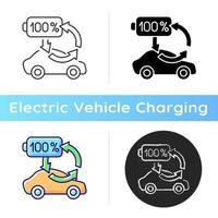 Ladesymbol aufladen. Möglichkeit zum Aufladen von Elektrofahrzeugen, um die Batteriegesundheit und das Funktionieren zu erhalten ökologischer Transport. lineare Schwarz- und RGB-Farbstile. isolierte vektorillustrationen vektor