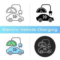 Ladesymbol der Stufe 2. verschiedene Arten von Ladeanschlüssen. Elektromobil mit Naturkraftstoff tanken. Strom für Auto. lineare Schwarz- und RGB-Farbstile. isolierte vektorillustrationen vektor