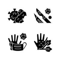Infektiöse Bioabfälle schwarze Glyphensymbole auf weißem Raum. Pflanzenpathogene. medizinischer Abfall, der infizierte Flüssigkeiten enthält. Bakterien und Viren. Silhouette-Symbole. isolierte Vektorgrafik vektor
