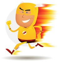 komisk snabb springande superhjälte vektor