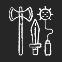 Ritter Waffen Kreide weißes Symbol auf schwarzem Hintergrund. Mittelalter. Bewaffnung von Schwert und Lanze. Streitkolben, Streitaxt. Turniere, Schlachten. mittelalterliche Waffen. isolierte vektortafelillustration vektor