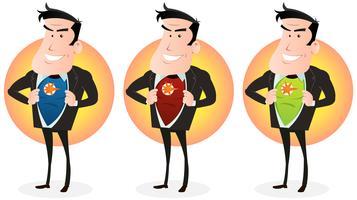 Karikatur-Superheld-Doppeltes Identitätsset