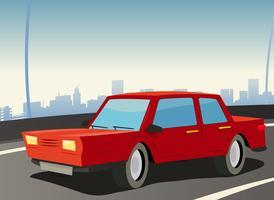 röd bil på stadens huvudväg vektor