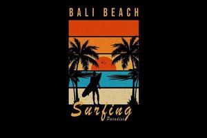 Bali Beach Surfparadies Farbe Orange Blau und Gelb vektor