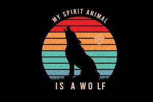 mein Krafttier ist eine Wolfsfarbe orange, gelb und grün vektor