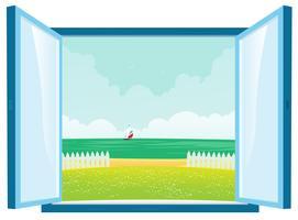 Strandutsikt vid fönstret vektor