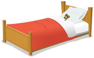 Tecknade säng med nallebjörn